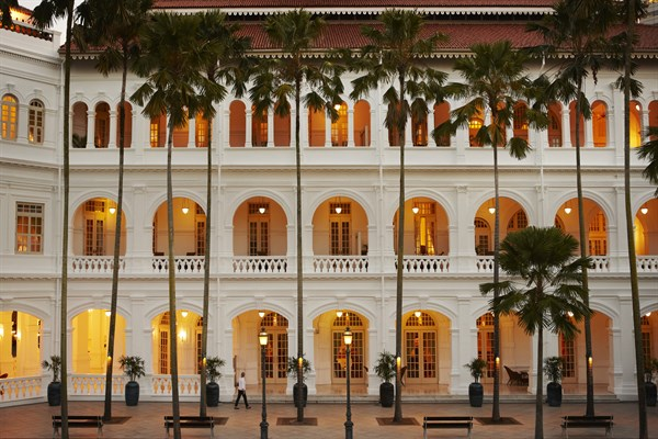 SINGAPORE Raffles Palm Court At Dusk