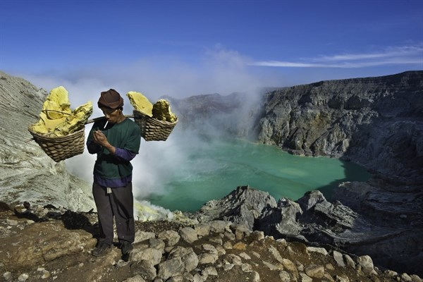 Indonesia Mining Sulfur By Hand In Kawah Ijen Volcano