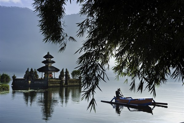 Indonesia Bali Island Bedugul Village Ulun Danu Temple On Lake Bratan