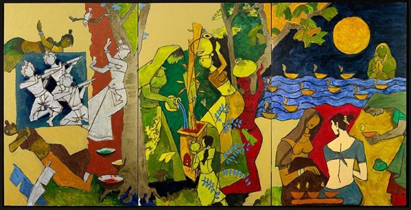 Mf Husain Traditional Indian Festivals Victoria And Albert Museum